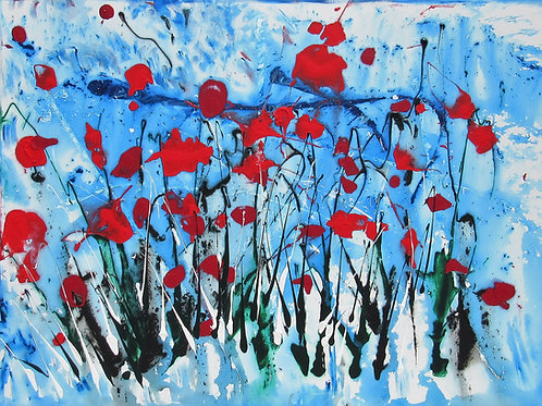OCEAN RED POPPIES 48 BY 36