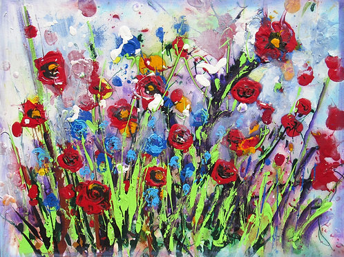 WILD RED FLOWERS 30 BY 24