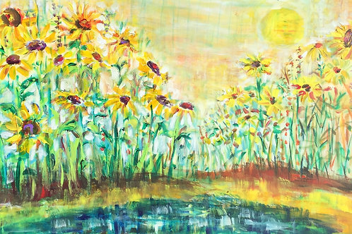 Sunflowers by the pond