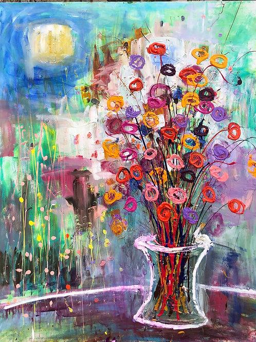 Vase of circle flowers