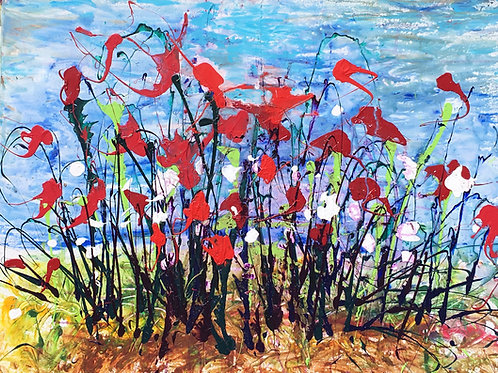red poppies abstracted 48 by 36