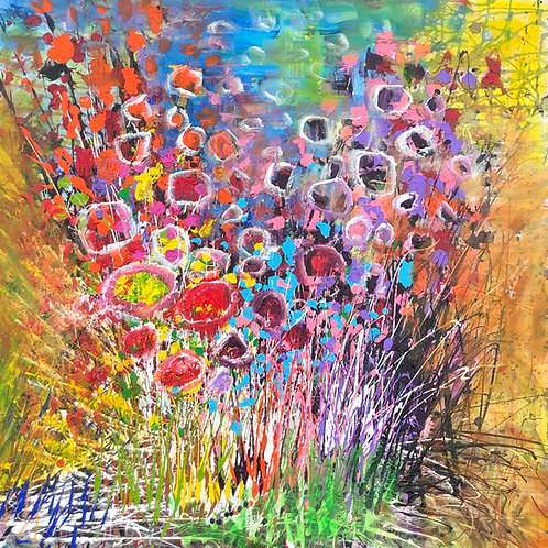 Abstracted flowers 48 x48
