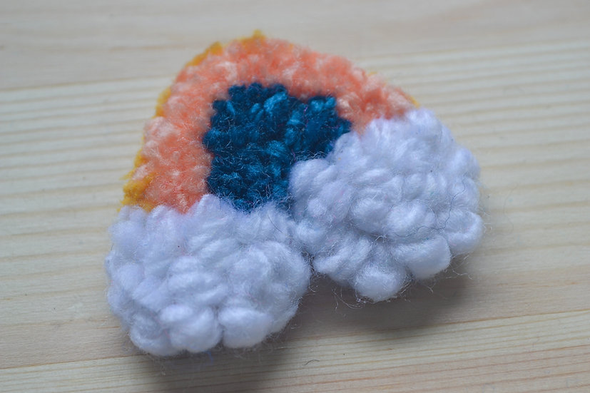 Mini Orange and Teal Rainbow Punch Needle with Clouds