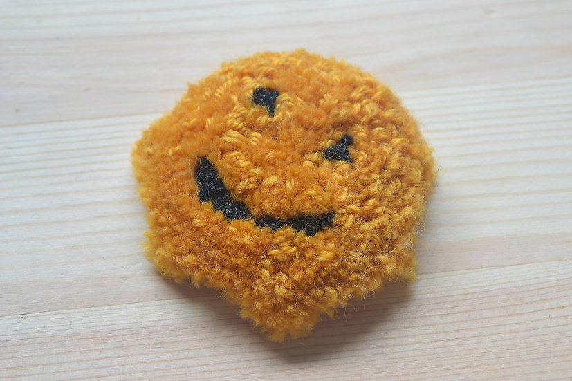 Yellow Smiley Face Punch Needle