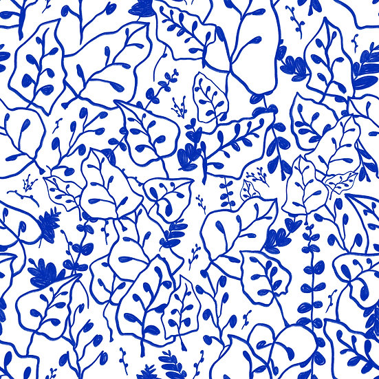 Blue Foliage Print