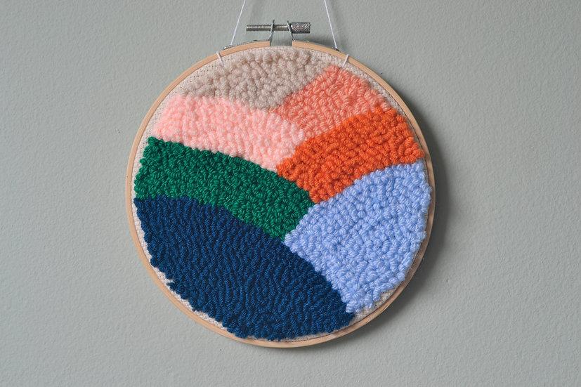 Blue and Orange Punch Needle Hoop