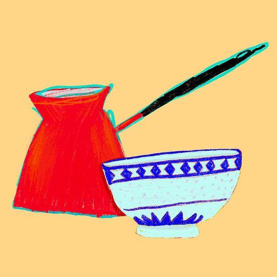Enamel Butter Melter and Blue Bowl Print
