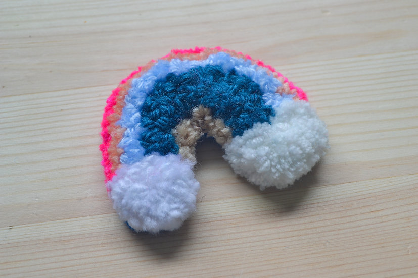 Blue and Pink Rainbow Punch Needle with Clouds