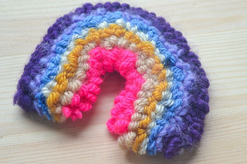 Purple, Yellow, and Pink Rainbow Punch Needle