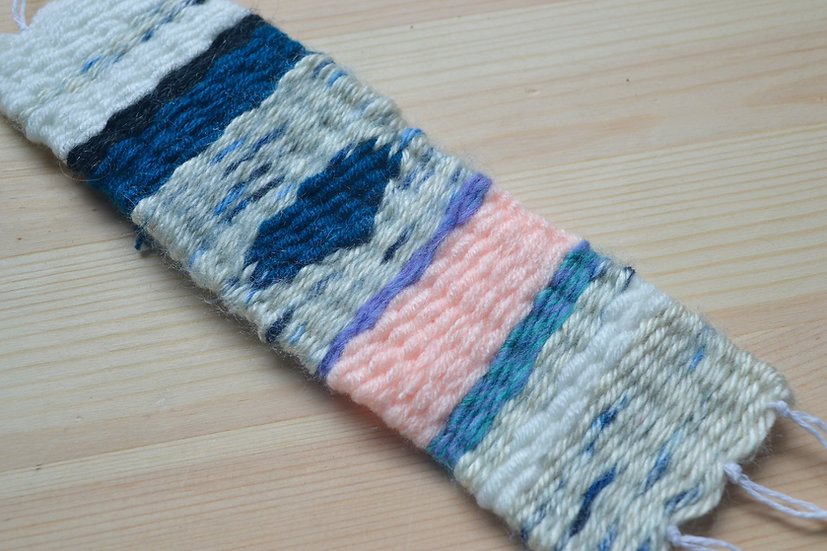 Blue, White, and Pink Woven Bookmark