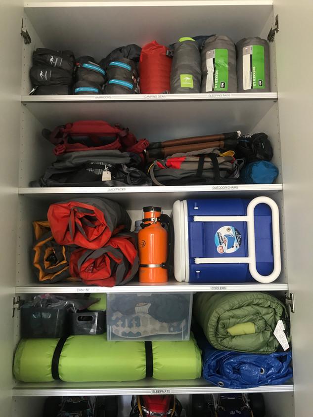 Camping gear all organized