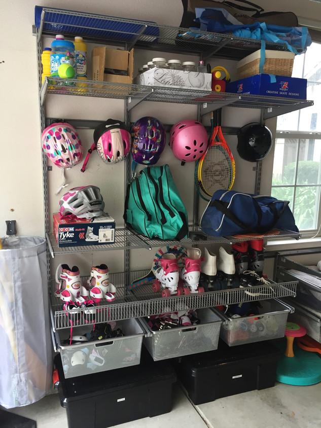 Family Sports gear organized