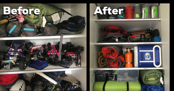 Camping gear organized and accessible