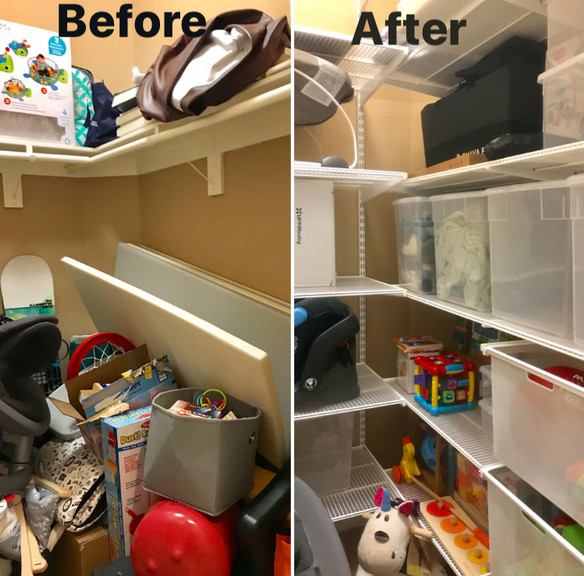 Toys and baby gear organized with room to grow