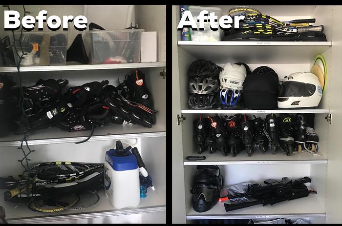 Sports gear organized