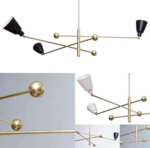 Angelo Lelli (Lelii) (Attributed) Italian Modern Brass and Enameled Three-Arm Chandelier
