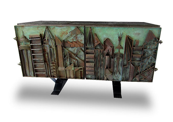 Paul Evans Rare American Modern Steel Sculpted & Vermont Slate Credenza, Unique, Paul Evans