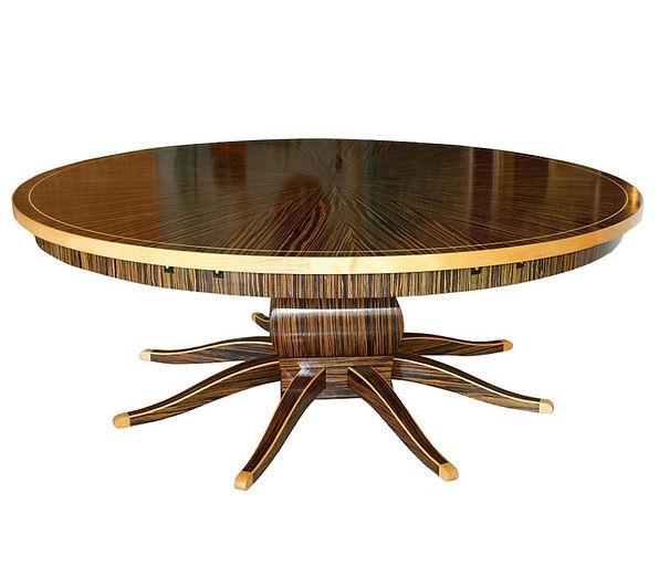 Monumental Art Deco Style Zebrawood and Lemonwood Extension Dining Table