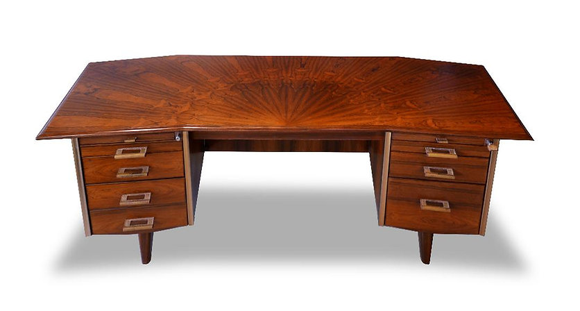 Raphael Furniture - France A French Modern Figured Palisander Brass and Leather Trimmed Executive Desk