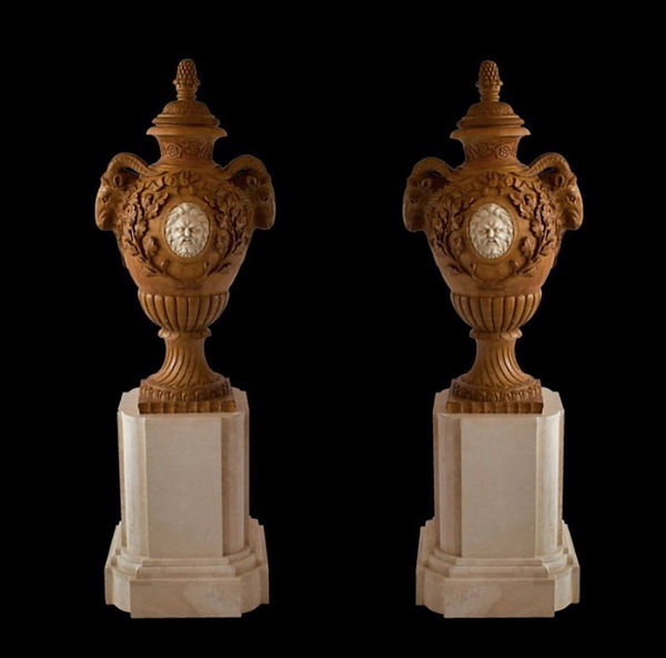 Fine and Monumental Pair of Italian Neoclassical Siena Marble Urns on Pedestals