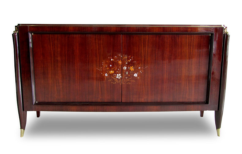 Jules Leleu French Art Deco Ebony de Macassar Marquetry inlaid Bronze Mounted Credenza