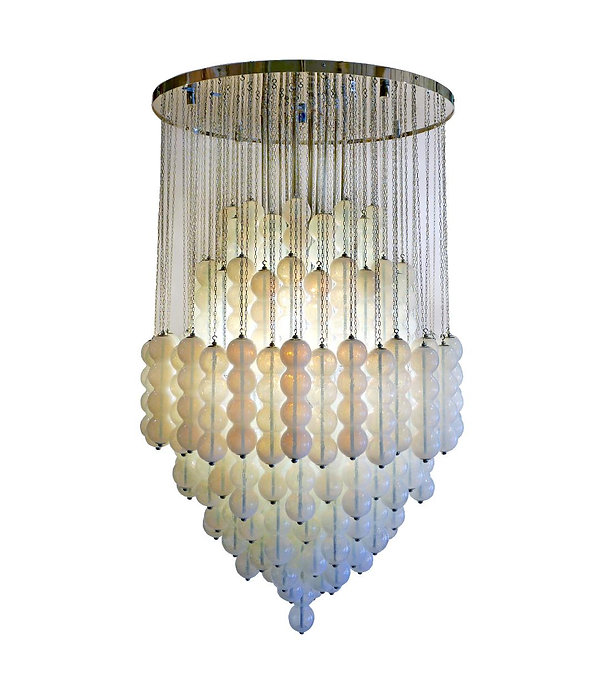 Mazzega Murano Pair of Monumental Italian Modern Polished Chrome and Glass Chandelier, Mazzega