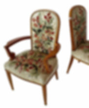 Jules Leleu Superb Set of 12 French Modern Fruitwood & Tapestry Dining Chairs