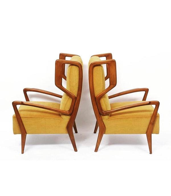 Orlando Orlandi Rare Pair of Italian Modern Walnut Armchairs, Orlando Orlandi