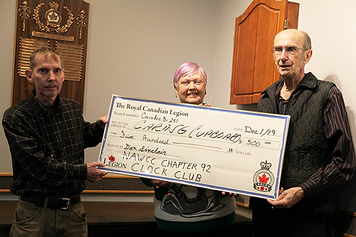 Dan, Cathy and Victor with cheque 600 wi