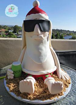 Sunbathing Santa