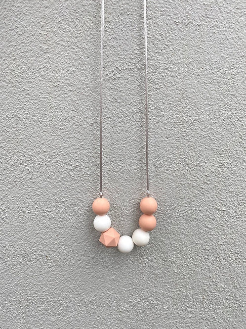 Silicone Necklace - Nude and white