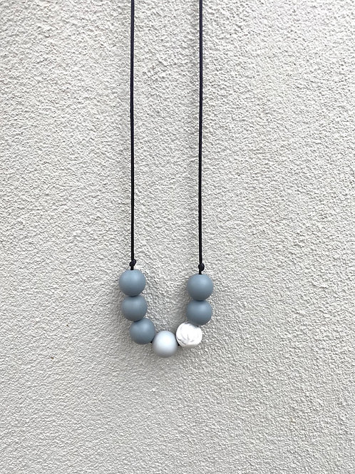 Silicone Necklace - Grey and Marble