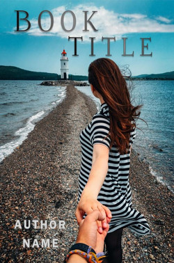 Woman and lighthouse pre-made book cover