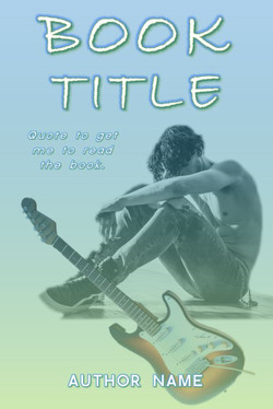 Pre-made book cover of a shirtless man and a guitar