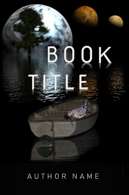 E-Book Cover - Sci-fi boat under moons