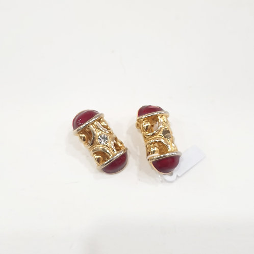 ORECCHINI GOLD TONE E SMALTO BORDEAUX