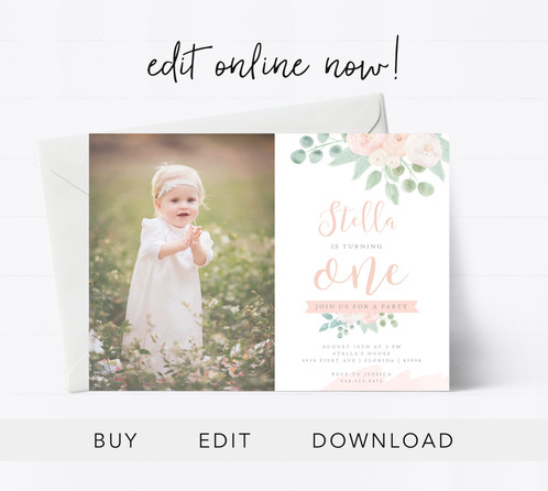 Editable First Birthday Card Sunny Blossom Design Studio Inivites