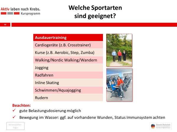 Sportarten bei Krebs