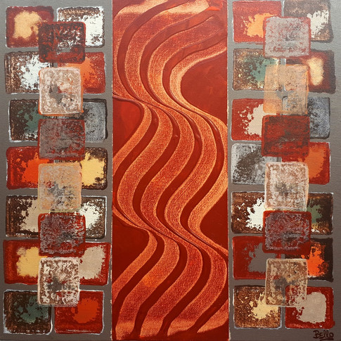 Box red waves and stamps/ Caja ondas y sellos rojo.