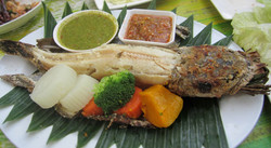 Grilled whole snakehead fish