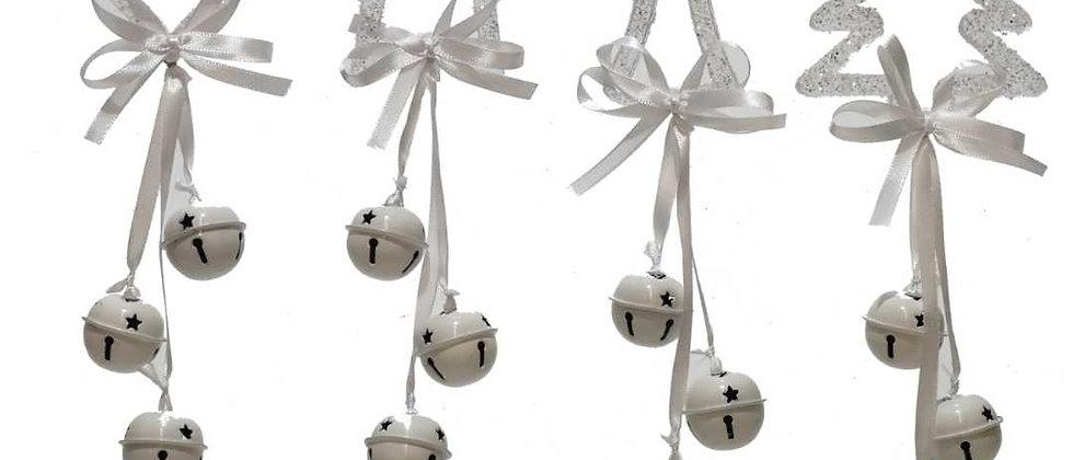 Addobbo per albero o porta, con campanelle bianche