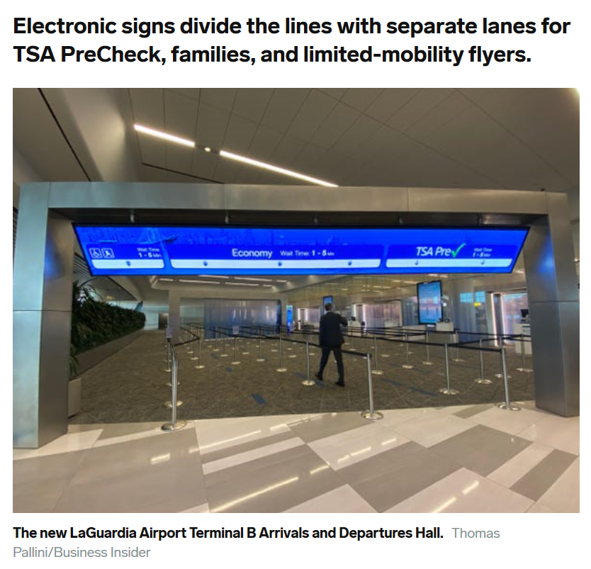 Screenshot showing Business Insider headline about electronic signs with security checkpoint digital signage