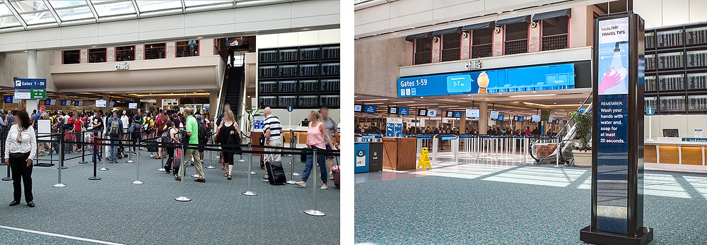 One image showing an airport security checkpoint before digital signage and one image showing the checkpoint after digital signage and a video wall
