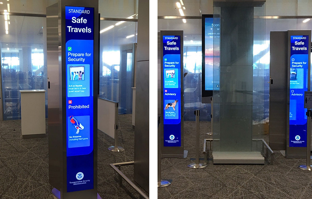 Digital signage at LaGuardia Airport showing security checkpoint content