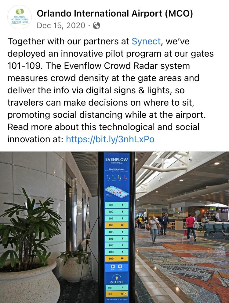 A Facebook post from MCO about Evenflow Crowd Radar by Synect, which shows a ReadySeeGo digital signage solution