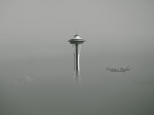 Space Needle in Fog 11X14 White Mat