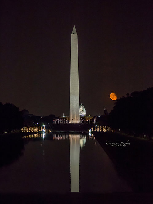 Red Moon Rising Over D.C. Portrait 8X10 Mat