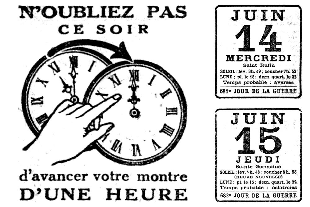 Le changement d'heure des 14 et 15 juin 1916 dans Le Petit Parisien