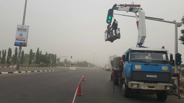 Solar powered traffic signals installation