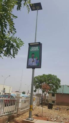 Solar streetlights with advertisement board